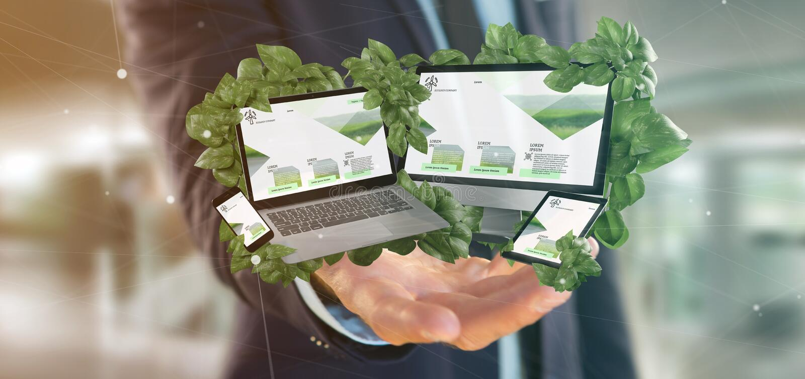 Businessman holding a Connected devices surrounding by leaves 3d rendering. View of a Businessman holding connected devices surrounding by leaves 3d rendering stock photography