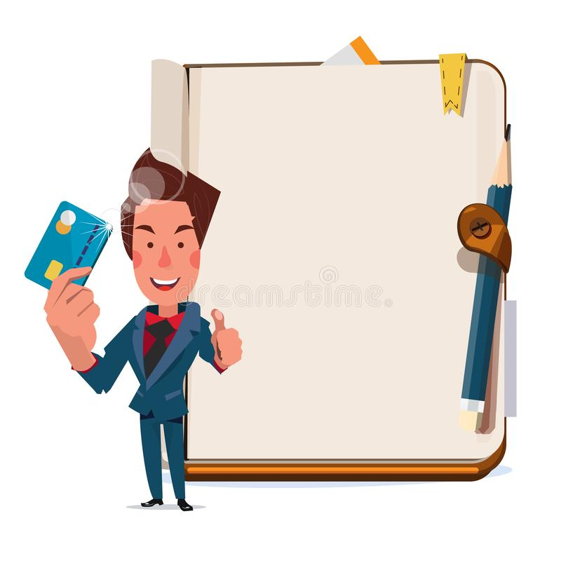Businessman holding creditcard with blank book in background. showing the right way to use creditcard - vector royalty free illustration