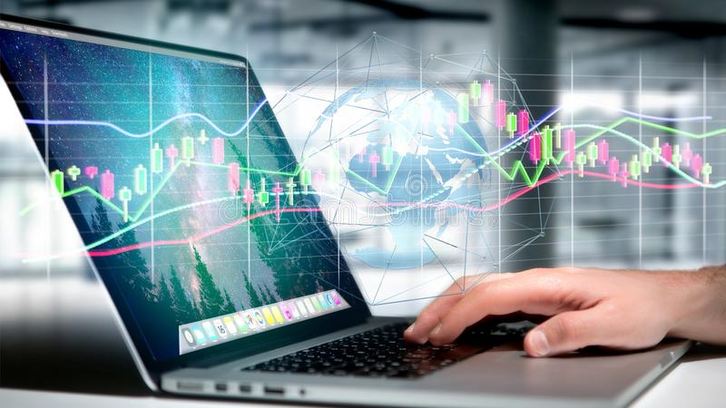 Businessman holding a 3d render Stock exchange trading data info. View of a Businessman holding a 3d render Stock exchange trading data information display on a royalty free stock photography