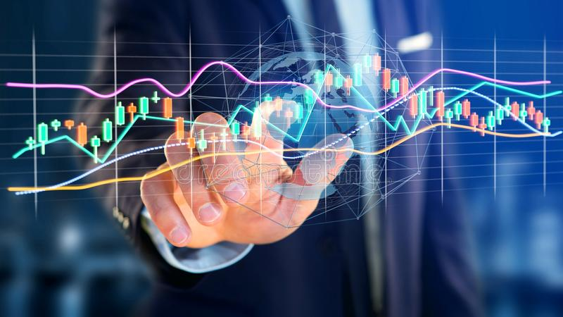 Businessman holding a 3d render Stock exchange trading data info. View of a Businessman holding a 3d render Stock exchange trading data information display on a royalty free stock images