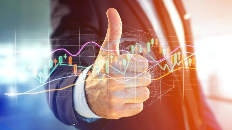 Businessman holding a 3d render Stock exchange trading data info. View of a Businessman holding a 3d render Stock exchange trading data information display on a stock image