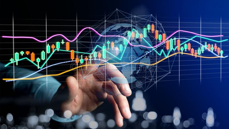 Businessman holding a 3d render Stock exchange trading data info royalty free stock photos