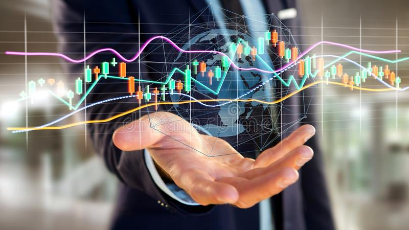 Businessman holding a 3d render Stock exchange trading data info. View of a Businessman holding a 3d render Stock exchange trading data information display on a royalty free stock photos