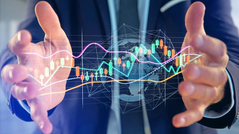Businessman holding a 3d render Stock exchange trading data info. View of a Businessman holding a 3d render Stock exchange trading data information display on a stock photo
