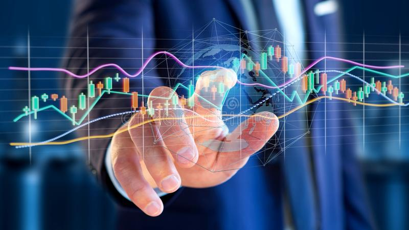 Businessman holding a 3d render Stock exchange trading data information display on a futuristic interface. View of a Businessman holding a 3d render Stock royalty free stock photo