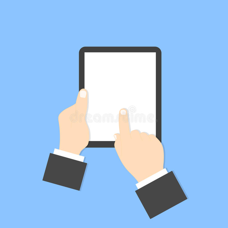 Businessman holding a digital tablet. Businessman holding a digital tablet on a blue background vector illustration