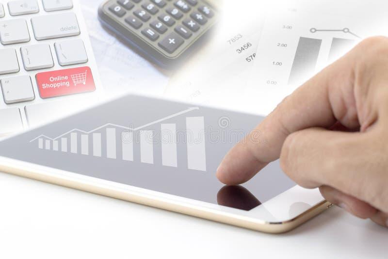 Businessman holding digital tablet royalty free illustration