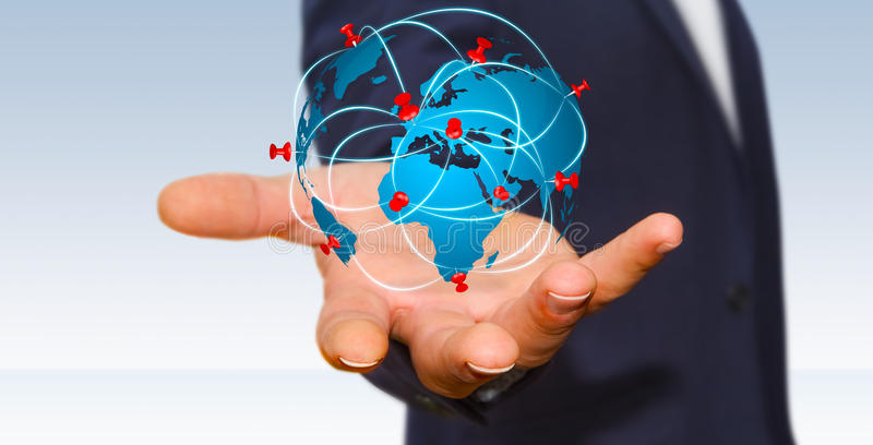 Businessman holding digital world map in his hands stock image download businessman holding digital world map in his hands stock image image 65503619 gumiabroncs Images