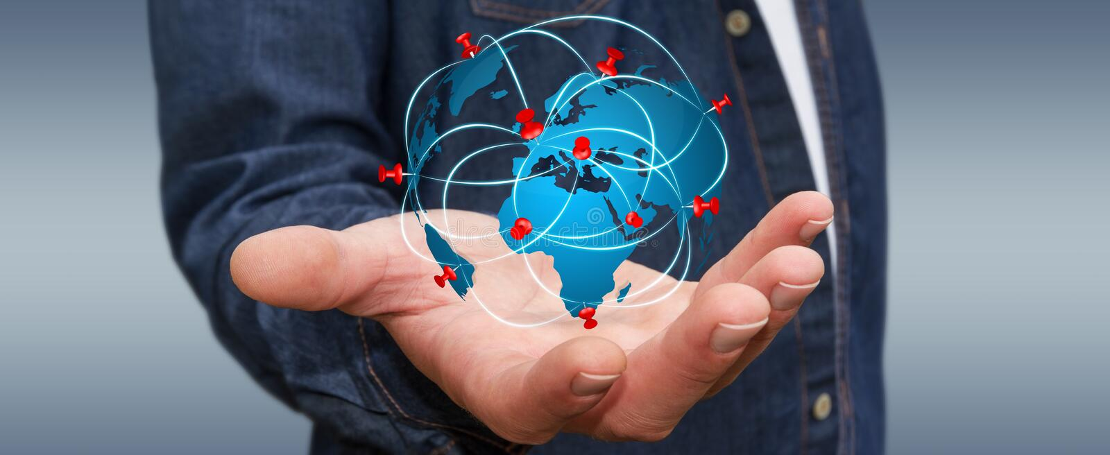 Businessman holding digital world map in his hands stock download businessman holding digital world map in his hands stock illustration illustration of innovate gumiabroncs Choice Image
