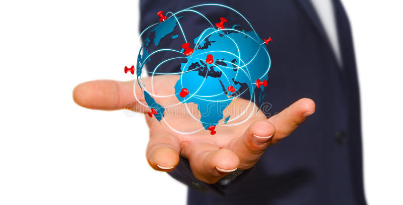 Businessman holding digital world map in his hands stock download businessman holding digital world map in his hands stock illustration illustration of tech gumiabroncs Choice Image