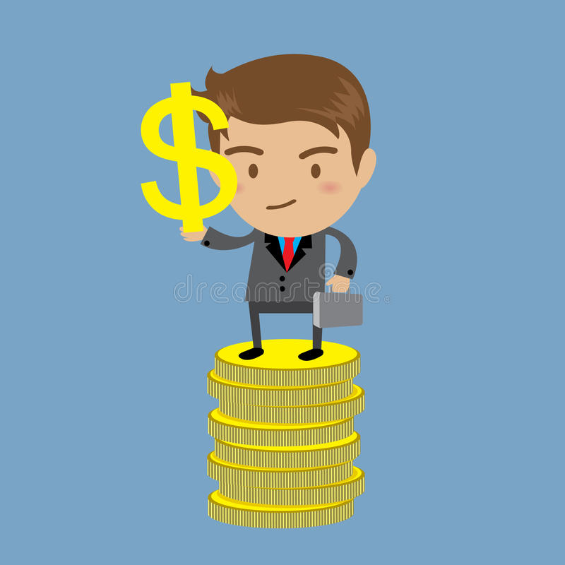 Businessman Holding Dollar Sign on money royalty free illustration
