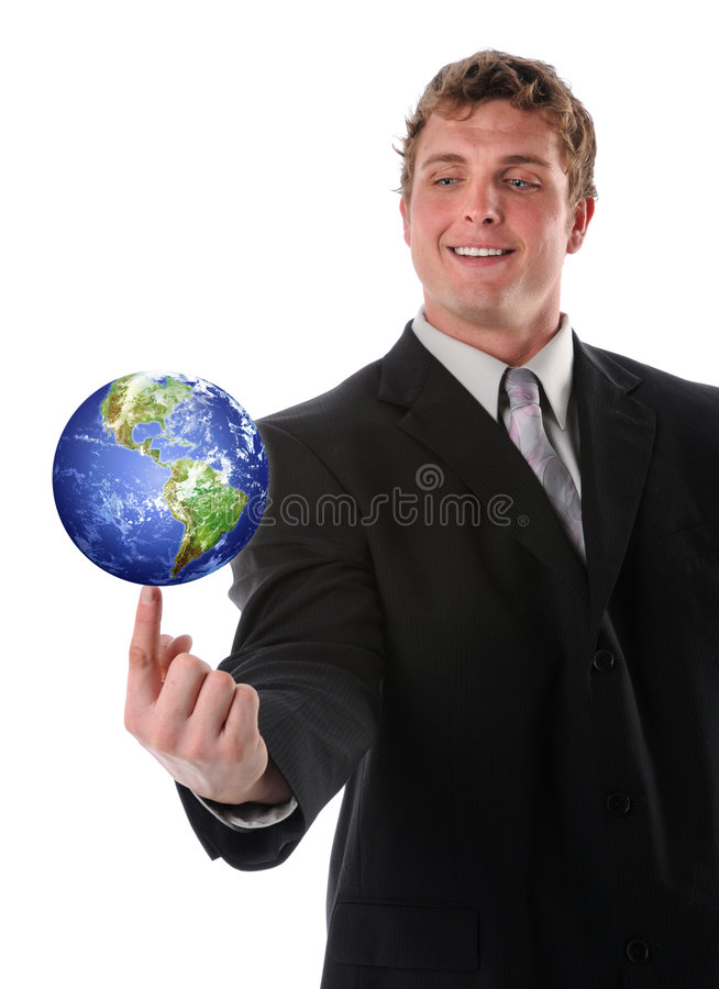 Businessman Holding Earth Royalty Free Stock Photography