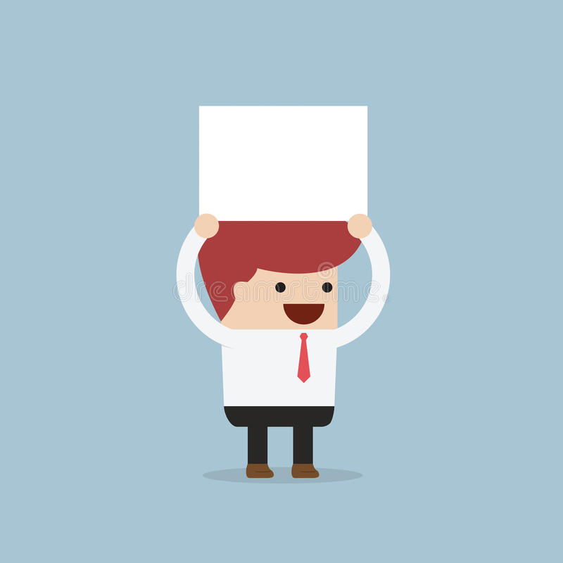 Businessman holding an empty board over his head royalty free illustration