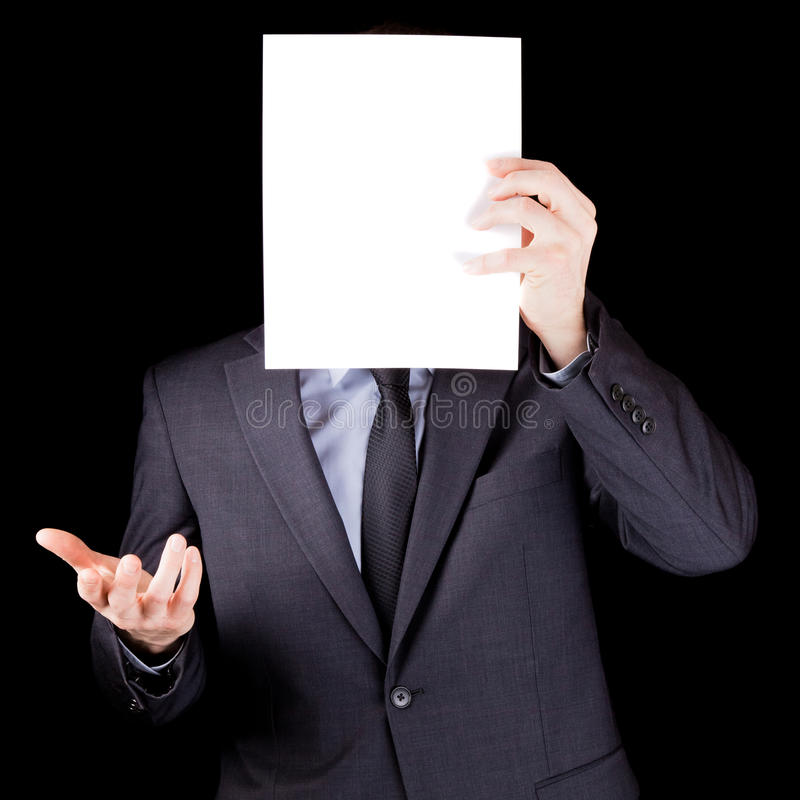 Download Businessman Holding  An Empty Sheet Of Paper In Front Of His Face Stock Image - Image: 30510857