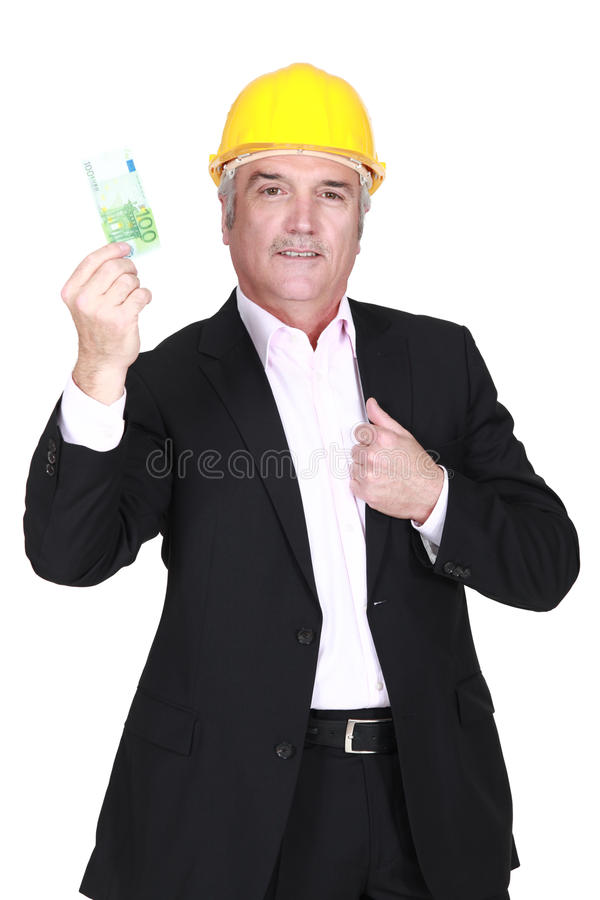Download Businessman Holding A 100 Euro Note Stock Photo - Image: 33676452