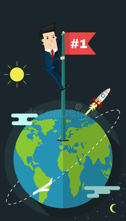 Businessman holding a flag that succeed in mountain. Business concept cartoon illustration. royalty free illustration
