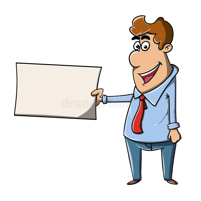 Businessman holding a blank card stock photography