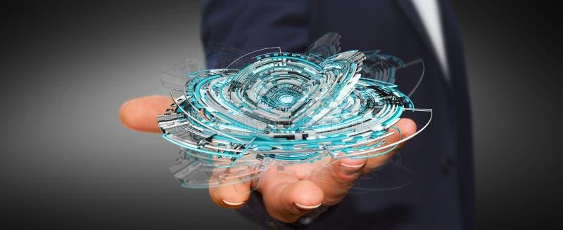 Businessman holding floating 3D rendering digital tech blue interface. Businessman on blurred background holding floating 3D rendering digital tech blue royalty free illustration