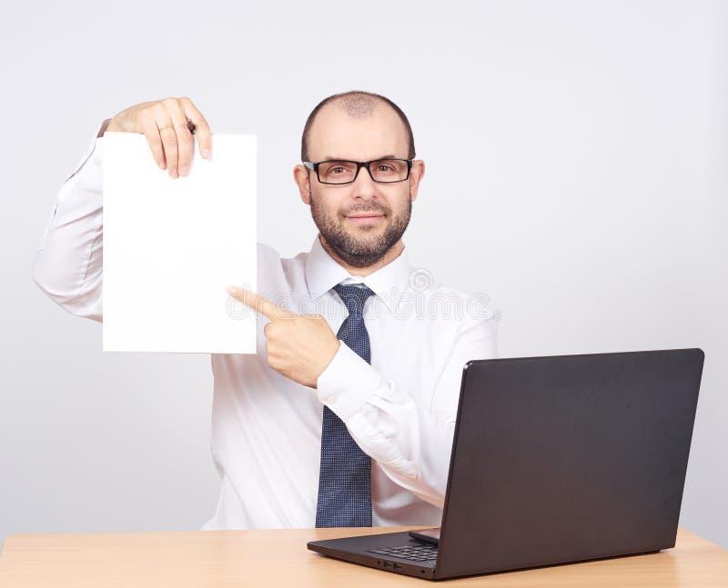 Businessman holding a folder of document stock photo