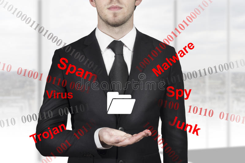 Businessman holding folder symbol internet attack stock image