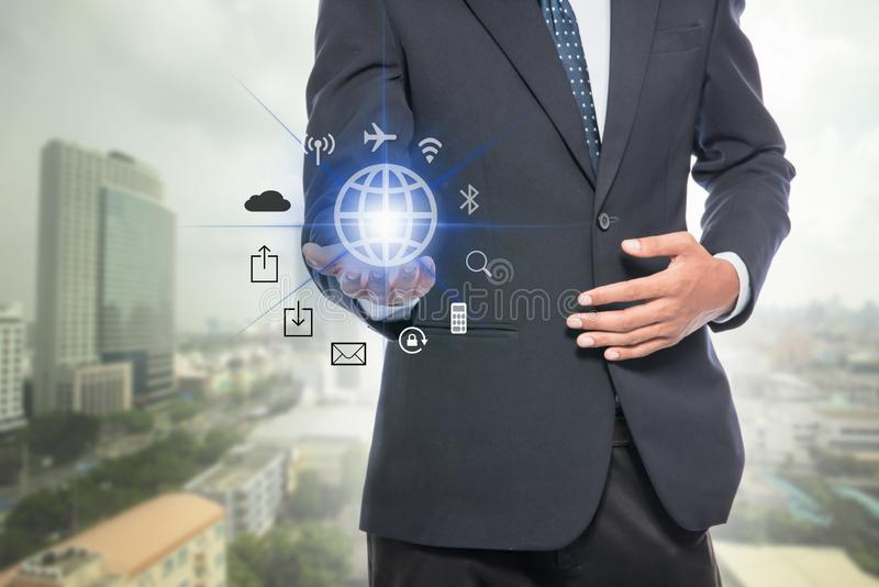 Businessman holding global network stock images