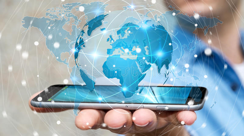 Businessman holding global network on planet earth 3D rendering. Businessman holding global network and data exchanges over his phone 3D rendering royalty free illustration