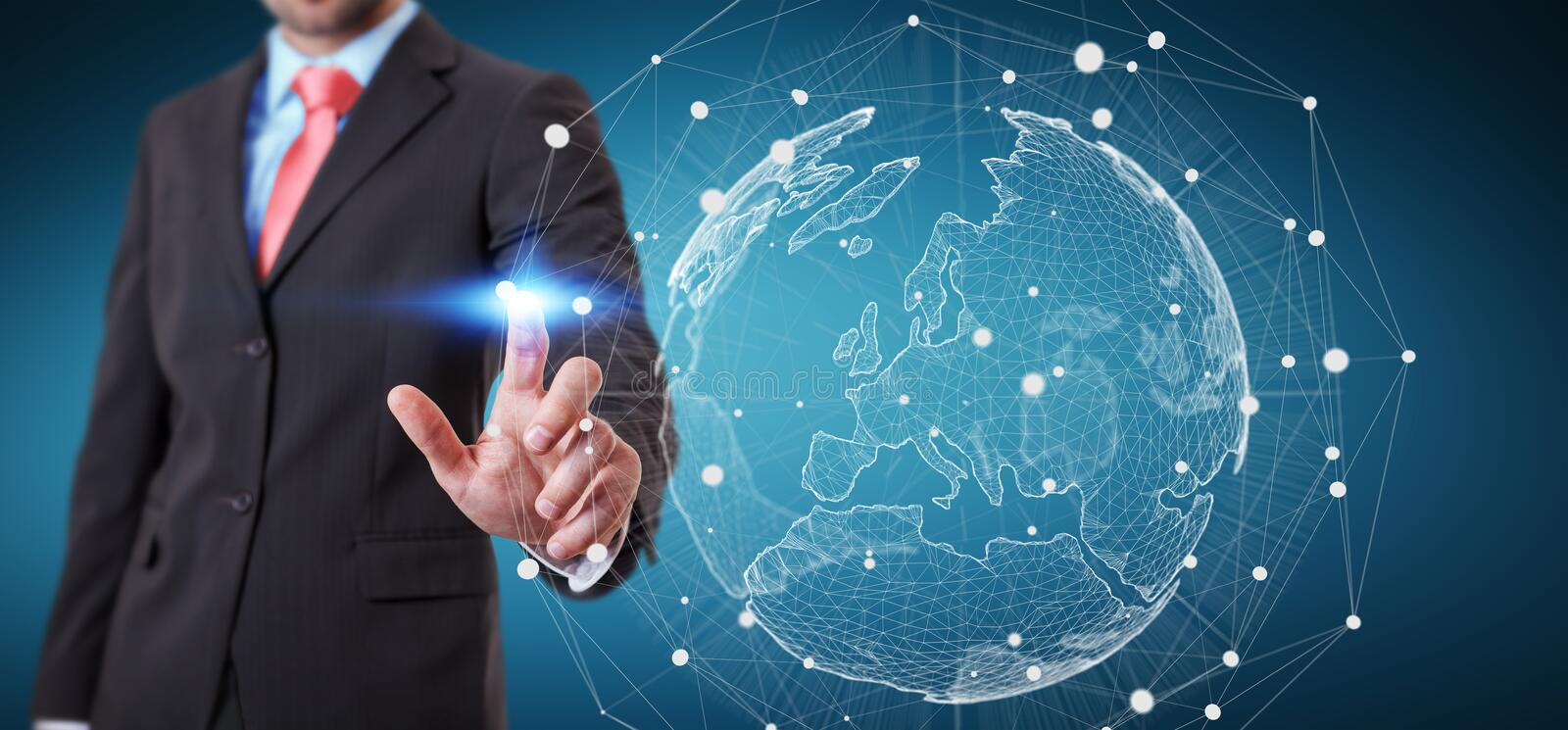 Businessman holding global network on planet earth 3D rendering. Businessman holding global network and data exchanges over the world 3D rendering stock illustration