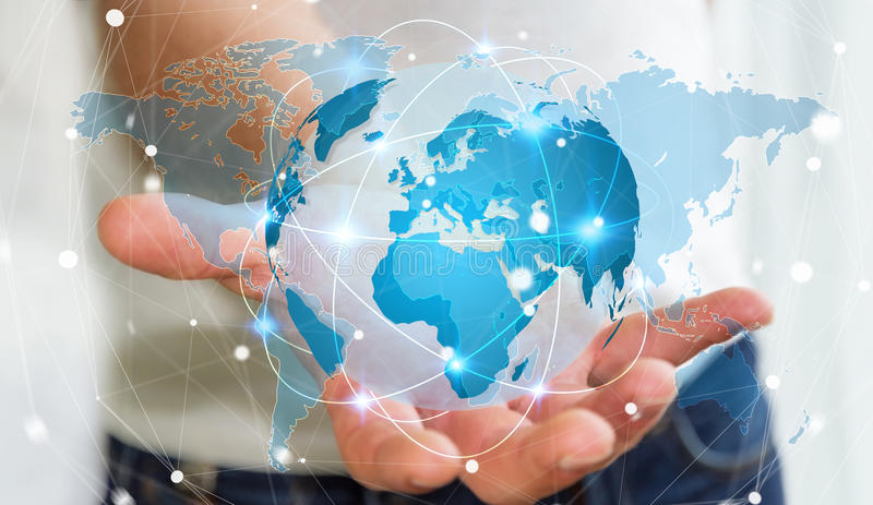 Businessman holding global network on planet earth 3D rendering. Businessman holding global network and data exchanges over the world 3D rendering vector illustration