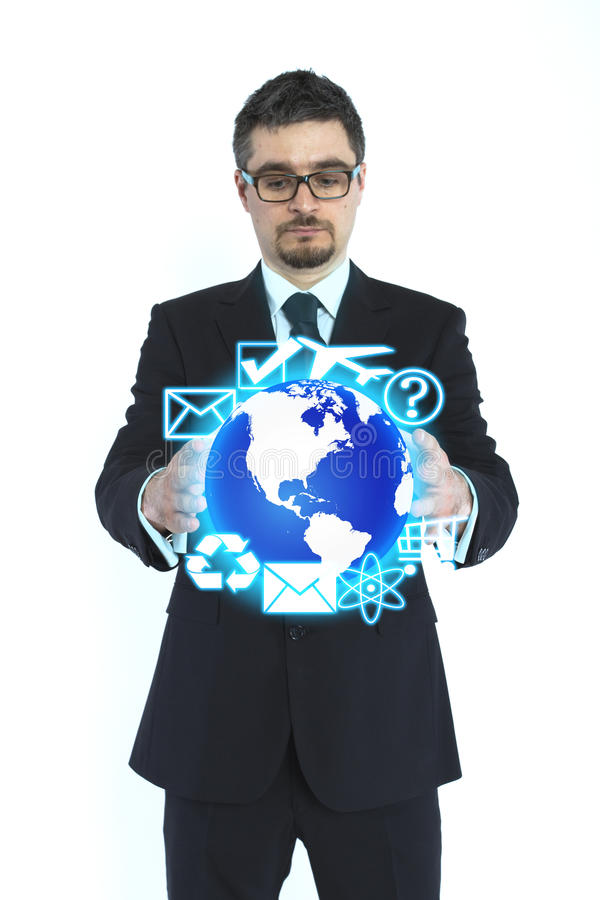 Businessman holding globe. Isolated in white royalty free stock photography