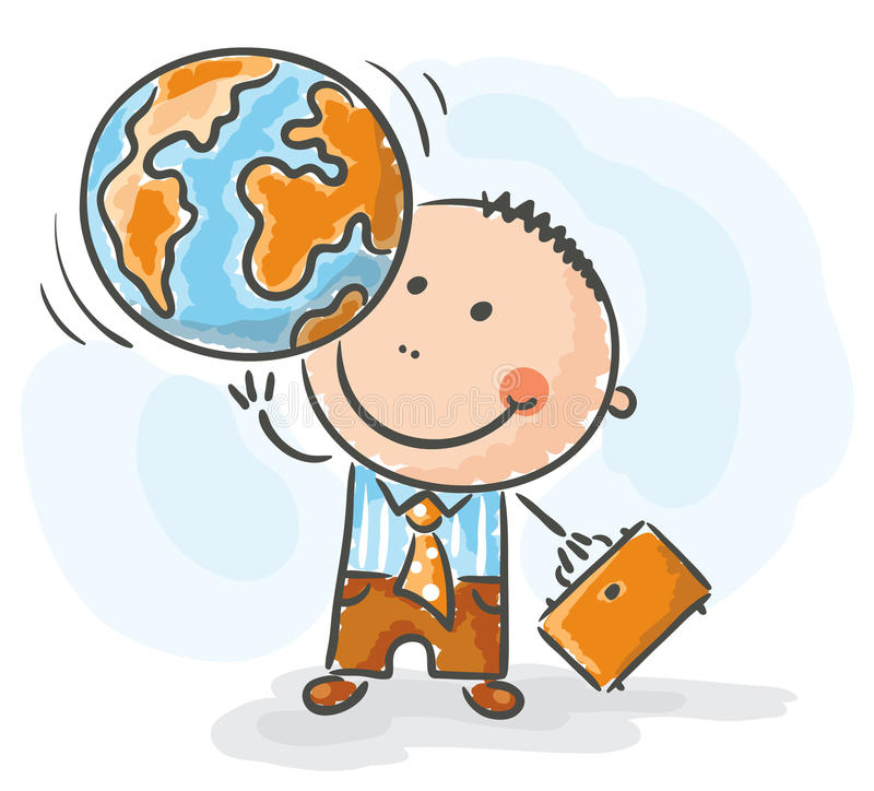 Businessman holding the globe stock illustration