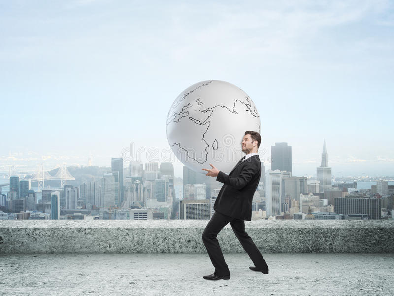 Download Businessman holding globe stock photo. Image of confident - 32142336