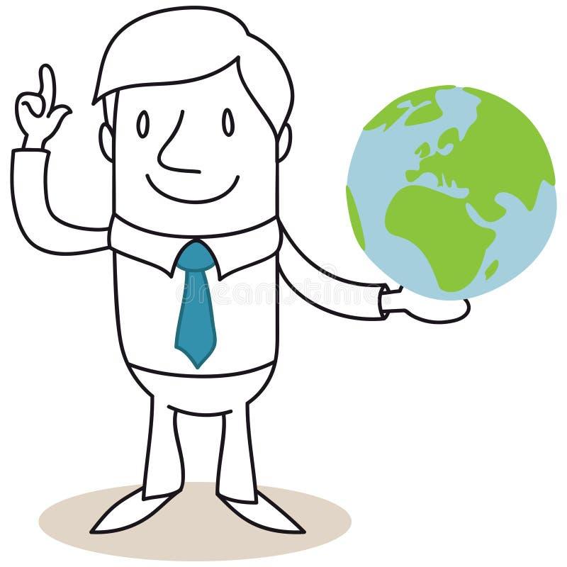 Businessman holding globe with explaining gesture. Vector illustration of a monochrome cartoon character: Businessman holding globe with explaining gesture stock illustration
