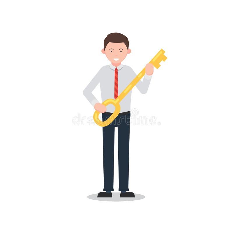 Businessman holding a gold key stock illustration