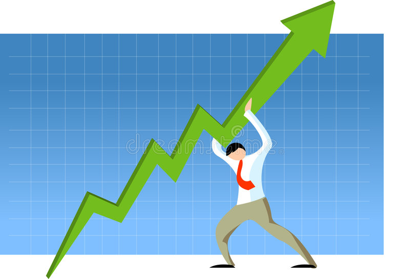 Businessman holding graph stock illustration