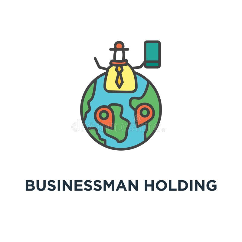 businessman holding green flag with check mark, business of success icon, symbol of achievement and challenge, outline, concept royalty free illustration