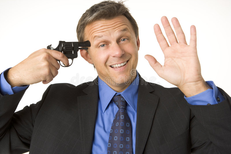 Download Businessman Holding Gun To His Head While Smiling Stock Photo - Image: 6879900