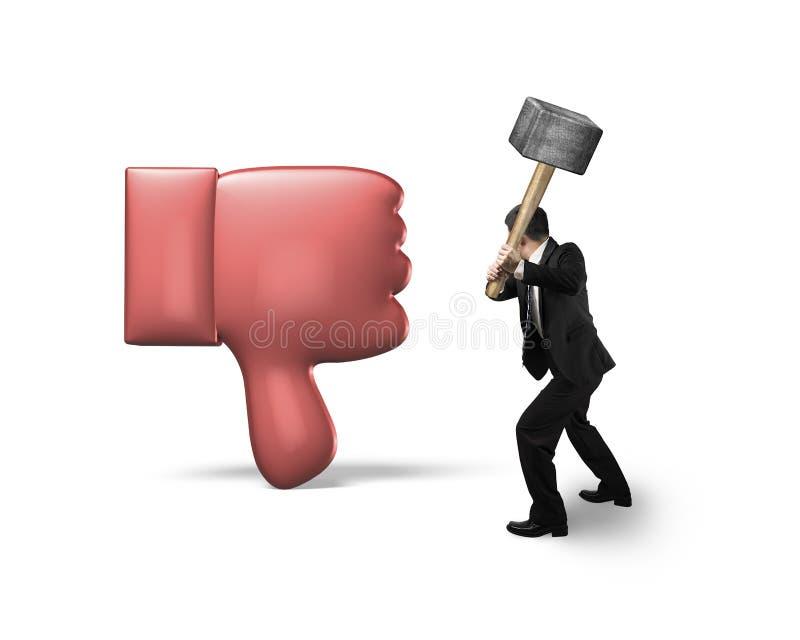 Businessman holding hammer hitting dislike thumb down. Mark, isolated on white background stock photography