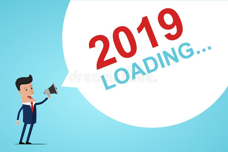 Businessman Holding In Hand Megaphone With Speech Bubble 2019 LOADING. Announcement. Vector illustration.  stock illustration