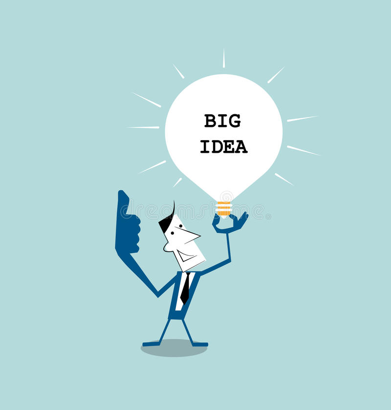 Businessman holding light bulb in his hand ,get the big idea vector illustration