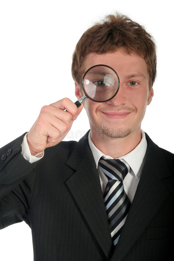 Businessman Holding Magnifying Glass stock photos