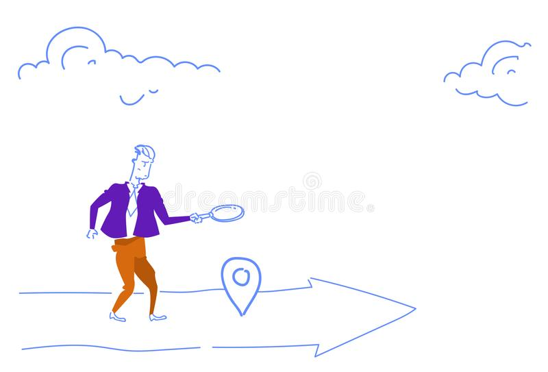 Businessman holding magnifying zoom glass search geo tag location business arrow destination concept horizontal sketch. Doodle vector illustration royalty free illustration