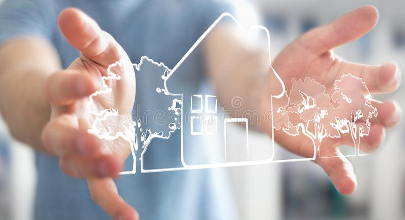 Businessman holding manuscript real estate plan project vector illustration
