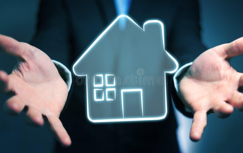 Businessman holding manuscript real estate plan project stock illustration