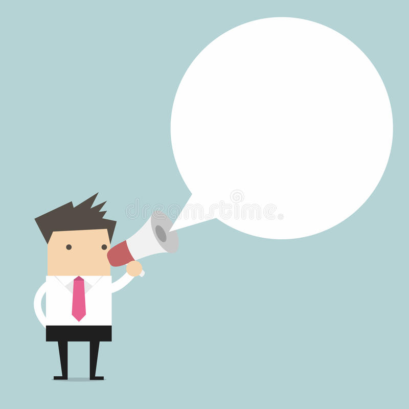 Businessman holding megaphone with speech bubble for text stock illustration