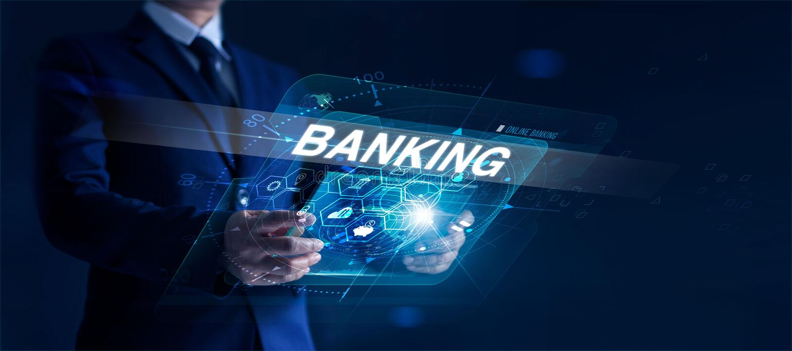 Businessman holding modern interface and word banking in hand with icon network connection on virtual screen dark background. Businessman holding modern stock images