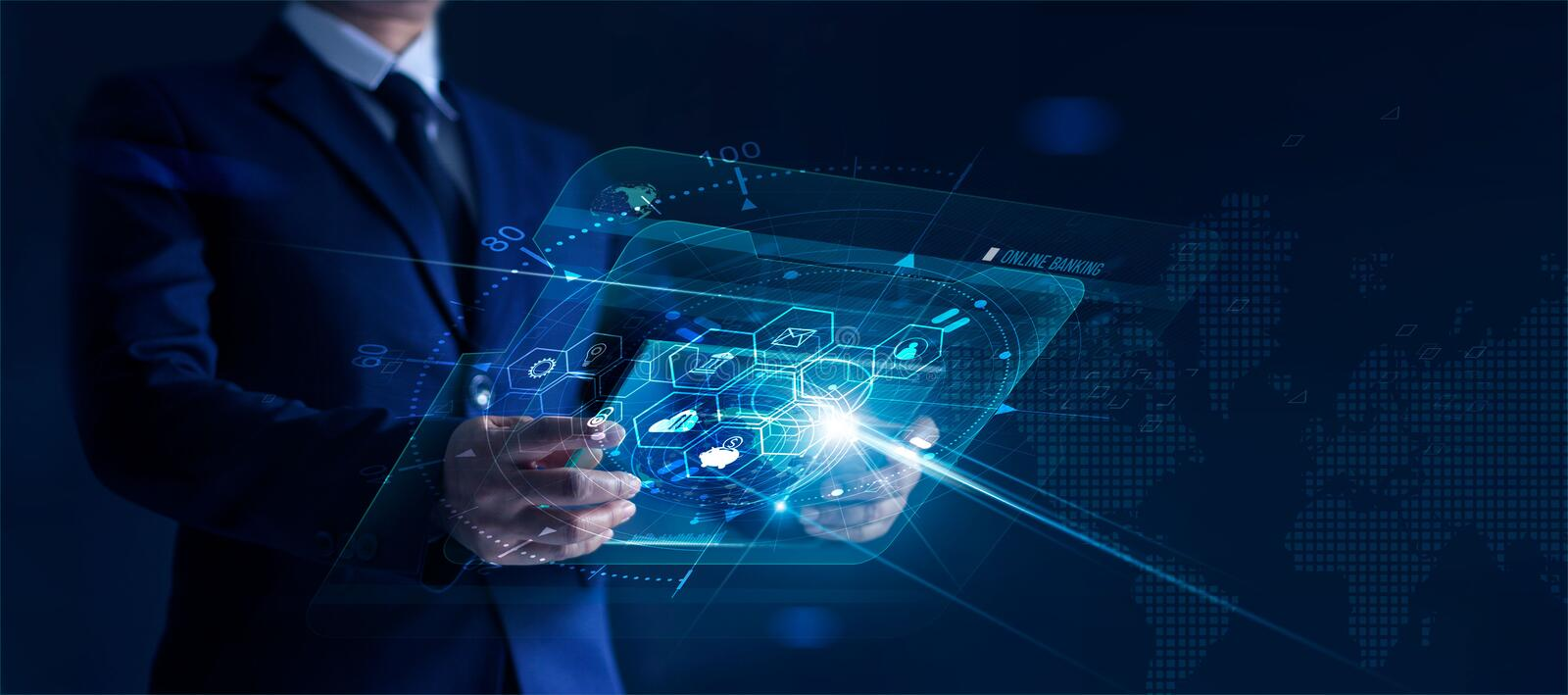 Businessman holding modern virtual interface banking in hand with icon network connection, shopping and mobile payment online. On dark background royalty free stock photo