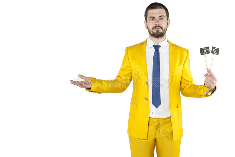 Businessman holding money symbol in his hand and wearing gold suit. Business man holding money symbol in his hand and wearing gold suit stock image