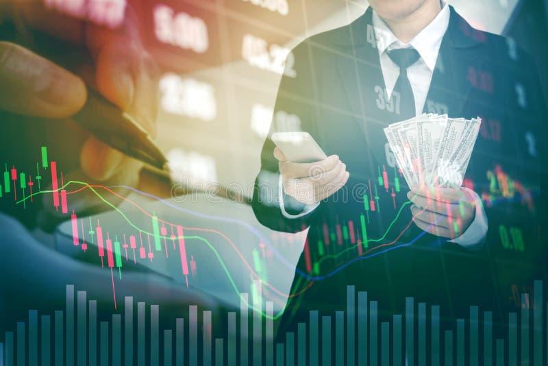 Businessman Holding money US dollar bills on digital stock market financial exchange information and Trading graph background.  stock image
