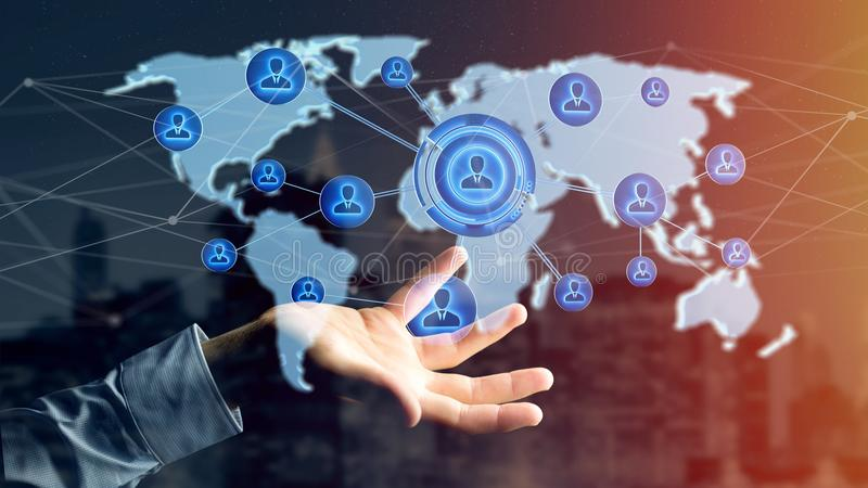 Businessman holding a Network over a connected world map - 3d re. View of a Businessman holding a Network over a connected world map - 3d render royalty free stock photography