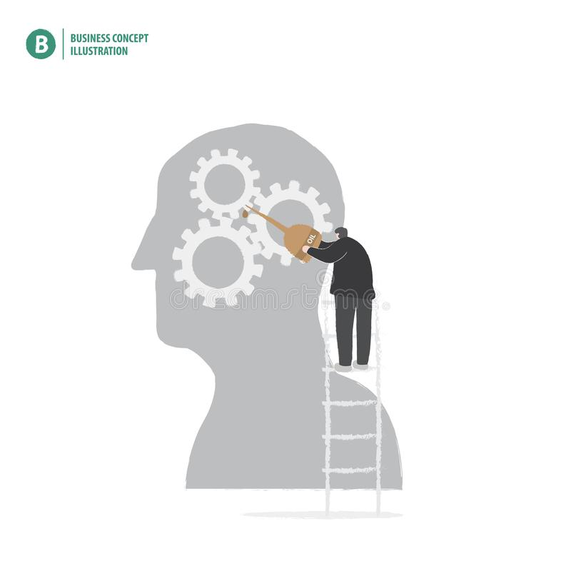 Businessman holding oil to gears in silhouette head meaning repair or solution of idea on white background illustration vector. royalty free illustration